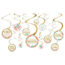 Boho Birthday Girl Value Pack Spiral Decorations 12CT