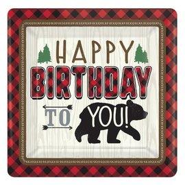 "Little Lumberjack Birthday Square Plates, 7"" 8CT"