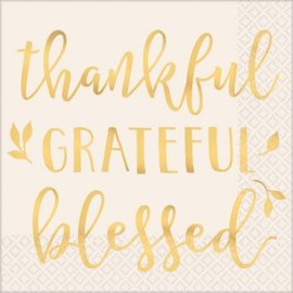 Thankful, Grateful, Blessed Luncheon Napkins Foil Hot Stamped, 16ct