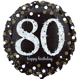 "Sparkling 80th Birthday Balloon, 18"" (#258)"