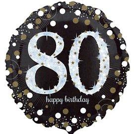 "Sparkling 80th Birthday Balloon, 18"""