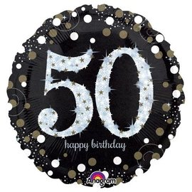 "Sparkling 50th Birthday Balloon, 18"" (#259)"