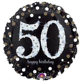 "Sparkling 50th Birthday Balloon, 18"""