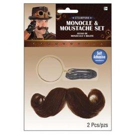 Steampunk Monocle & Moustache Set