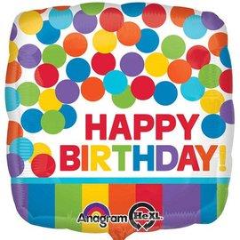 """Happy Birthday Primary Rainbow Balloon, 18"""""""