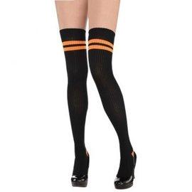 Orange Striped Thigh High Socks - Adult Standard