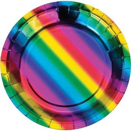 Metallic Rainbow Dessert Plate 8ct