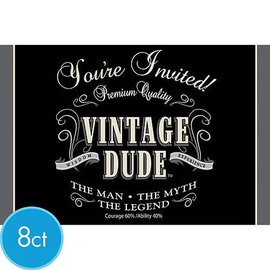 Vintage Dude Invitations 8ct