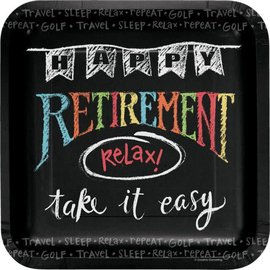 "Retirement Chalk 7"" Plates 8 ct"