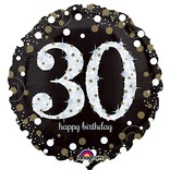 "Sparkling 30th Birthday Balloon, 18"""
