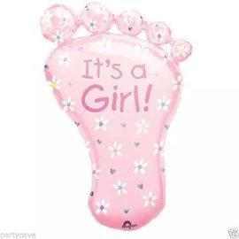 """It's a Girl Foot Shape Balloon, 32"""""""
