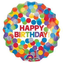 """Primary Rainbow Birthday Balloon, 28"""""""