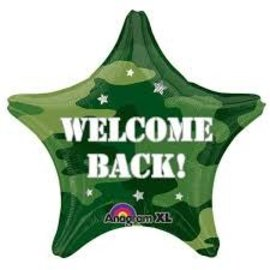 """Welcome Back Camouflage Star Balloon, 18"""""""