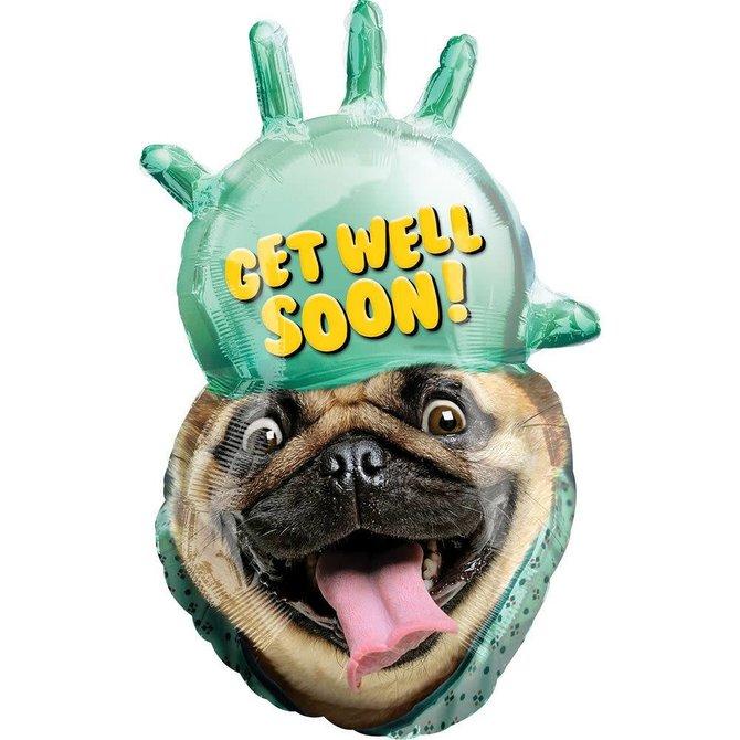 "Get Well Pug Balloon, 32"""