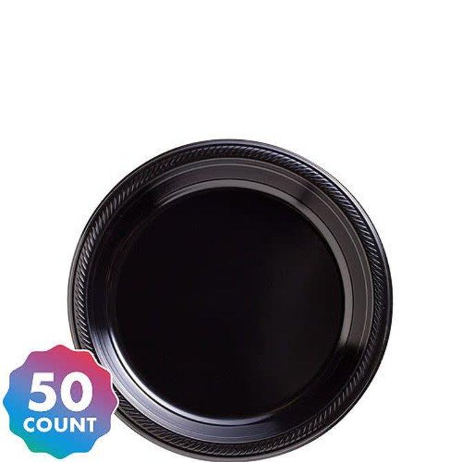 "Jet Black Plastic Plates, 7"", 50ct"