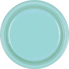 "Robin's Egg Blue Round Plastic Plates, 9"" 20ct"