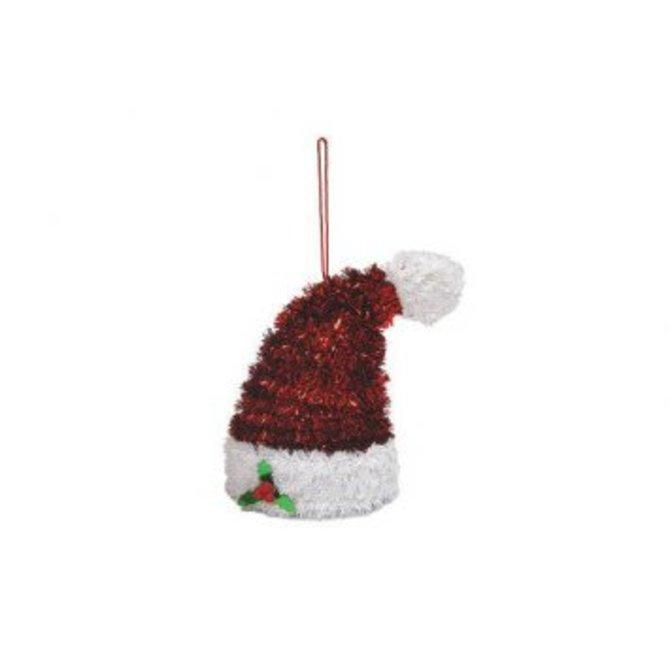 3-D Santa Hat Hanging Tinsel Decoration