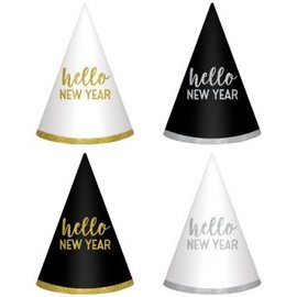 New Year's Cone Hats - Black, Silver, Gold 6ct.