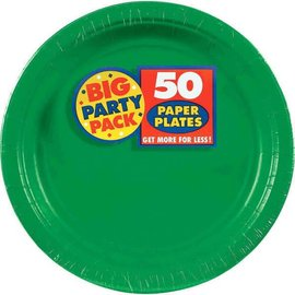 "Festive Green Big Party Pack Paper Plates, 9"" 50ct"