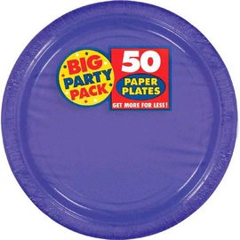 "New Purple Big Party Pack Paper Plates, 7"" 50ct"