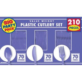 New Purple Value Window Box Cutlery Set, 210ct