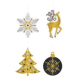 Tape - On Christmas Paper Tags - Gold/Silver-12ct