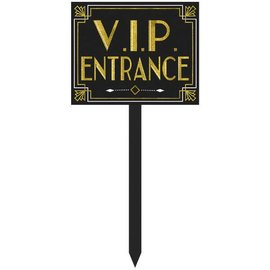 "Glitz & Glam VIP Entrance Yard Stake         10 2/5""x 12 9/10"" MDF w/Glitter (Size does not include stake)"
