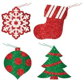 Christmas Glitter Tags-12ct