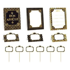 """Glitz & Glam Buffet Decorating Kit         Contains: 6 Paper Labels w/ Wood Picks, 7"""" 3 Small Paper tents, 4"""" 3 Large Paper tents, 8 3/4"""" Hot Stamped Paper"""