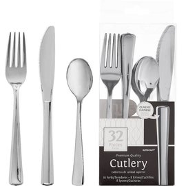 Silver Plastic Cutlery Set 32ct