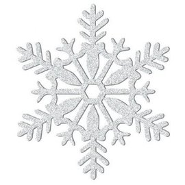 "Large Glitter Plastic Snowflake Decoration - Silver-11"""
