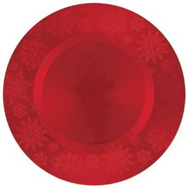 Red Snowflake Round Charger