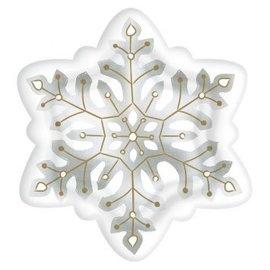 "Snowflake Shaped Plates, 10 1/2""-8ct"