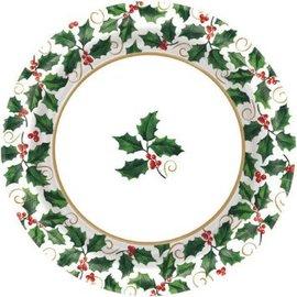 "Large Seasonal Holly Value 10"" Plates 40ct"