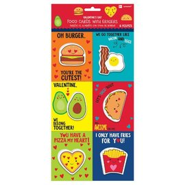 """Food Valentine Cards w/ Eraser      Contains: 6 Cards, 4"""" x 3 1/4"""" 6 Erasers, 1 5/6"""" - 2 3/8"""" 6 in a package"""