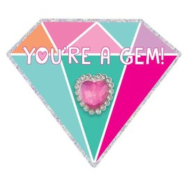 """Gem Valentine Card w/ Ring               12 Cards, 4 1/4"""" x 4 3/4"""" 12 Rings, 1"""" x 2/3"""" 12 in a package"""