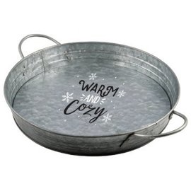 Warm & Cozy Round Serving Tray w/Handles