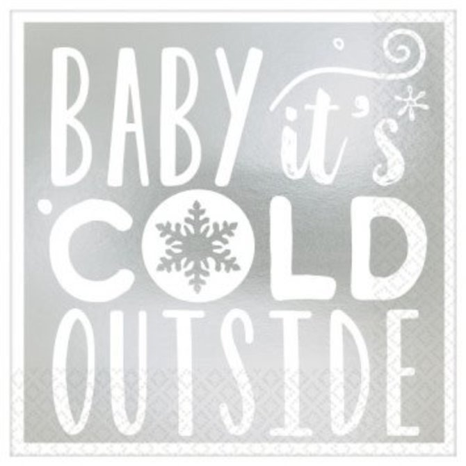 Baby It's Cold Outside Beverage Napkins, Hot-Stamped-16ct