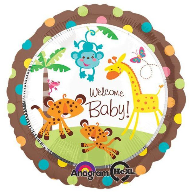 Welcome Baby Jungle Balloon, 18""