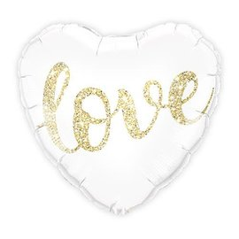 "White and Gold Love Balloon, 18"" (#50)"