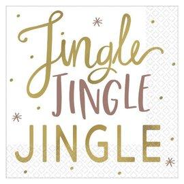 Jingle Jingle Jingle Beverage Napkins, Hot-Stamped   16ct