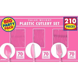 Bright Pink Value Window Box Cutlery Set, 210ct