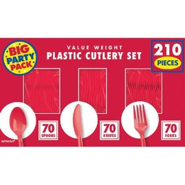 Apple Red Value Window Box Cutlery Set, 210ct