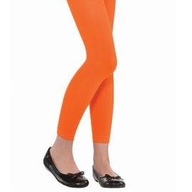 Orange Footless Tights - Child