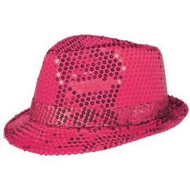 Sequin Fedora - Hot Pink