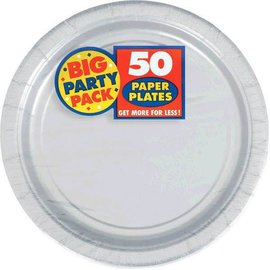 "Silver Big Party Pack Paper Plates, 9"" 50ct"