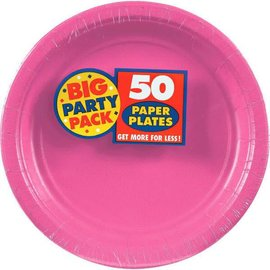 "Bright Pink Big Party Pack Paper Plates, 9"" 50ct"
