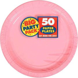 "New Pink Big Party Pack Paper Plates, 9"" 50ct"