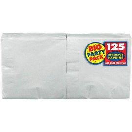 Silver Big Party Pack Beverage Napkins, 125ct