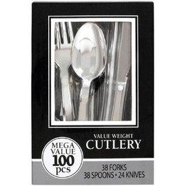 Premium Cutlery Asst. Chrome Silver 100ct